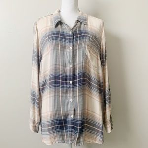 Lucky Brand Plaid Button Down Top